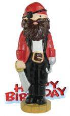 Pirate Resin Topper with Happy Birthday Motto